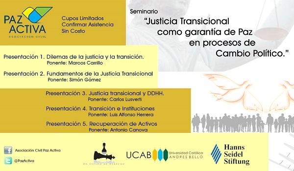 """Seminario  """"Justicia Transicional Como Garantía De Paz En Procesos De Cambio Político."""""""